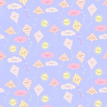 Seamless pattern with different smiling kites. Vector illustration Illustration