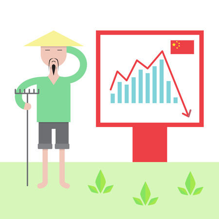 havoc: Illustration of chinese economy crysis. Chinese economy problems influence on population.