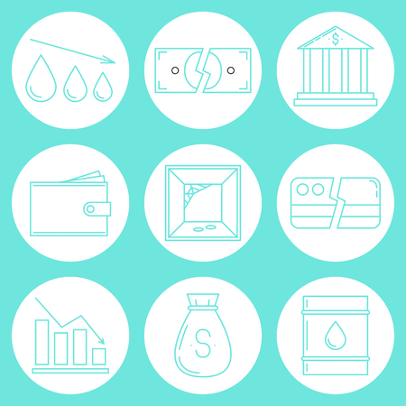 Set of economy crysis icons. Vector illustration