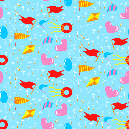 flit: Seamless pattern with different kites. Vector illustration