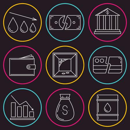 havoc: Set of economy crysis icons. Vector illustration