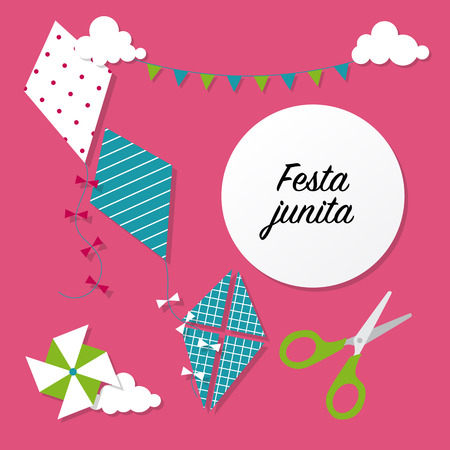 teeter: Festa unina celebration card with kites. Vector illustration