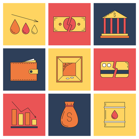 indebtedness: Set of economy crysis icons. Vector illustration
