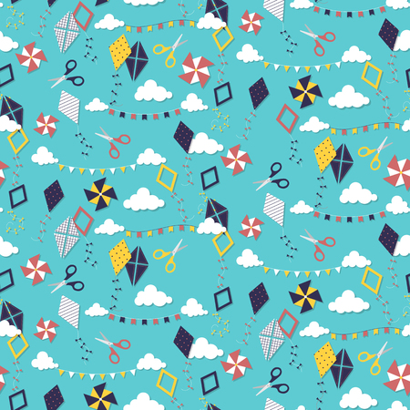 airborne: Seamless pattern with different paper kites. Vector illustration
