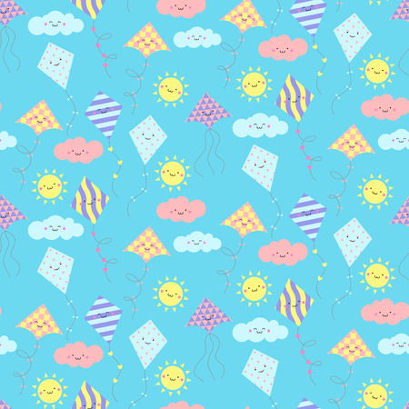 flit: Seamless pattern with different smiling kites. Vector illustration Illustration