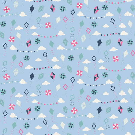 paper kites: Seamless pattern with different paper kites. Vector illustration