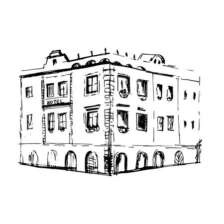 building sketch: old small european building in sketch style. vector illustration Illustration