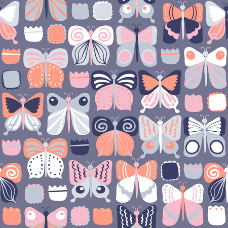 flit: Seamless pattern with beautiful bright butterflies. vector illustration