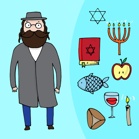 Jewish bearded man and a set of different jewish elements. Vector illustration