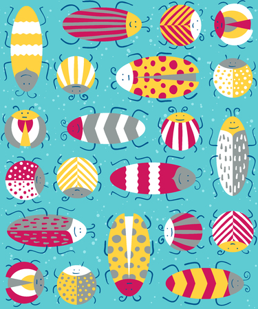 entomological: Seamless pattern with different insects. Vecto illustration