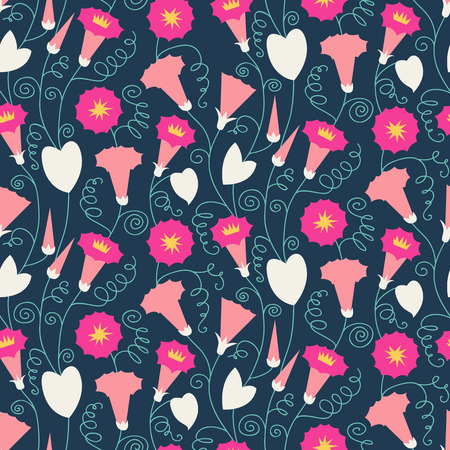 sublime: Seamless pattern with beautiful gentle bindweeds. It can be used for greeting cards, birthday cards, wedding inwitations, wallpapers, textile, etc. Vector illustration Illustration