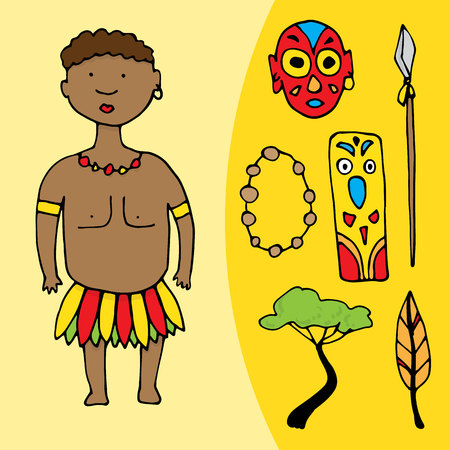 African man with set of different african elements. Vector illustration