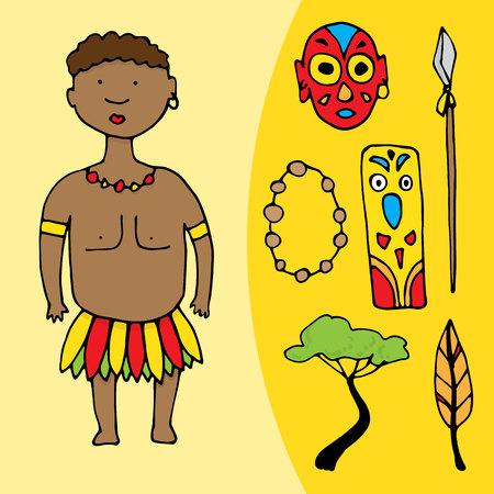 Hombre africano con conjunto de diferentes elementos africanos. ilustración vectorial