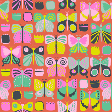 Seamless pattern with beautiful bright butterflies. vector illustration