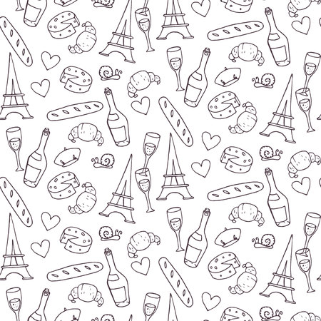 french culture: Seamless pattern with french elements. Vector illustration