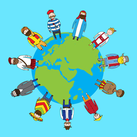 Different nationality people standing on the earth in peace. Vector illustration