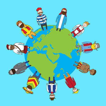Verschillende mensen nationaliteit die op de aarde in vrede. vector illustratie Vector Illustratie