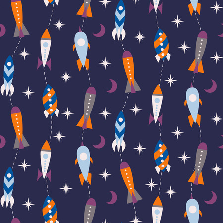 futurism: Seamless pattern with vintage rockets in space. Vector illustration
