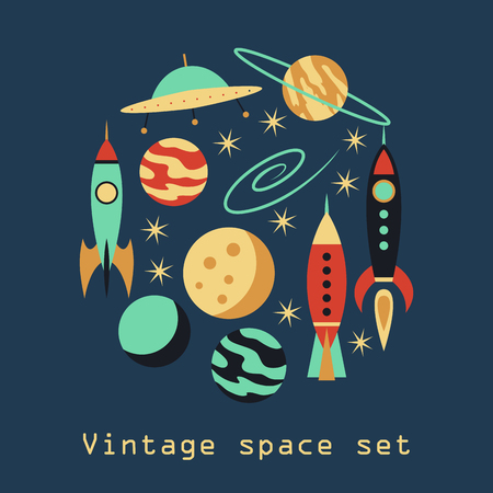 futurism: Vintage rocket space set. Vector illustration Illustration