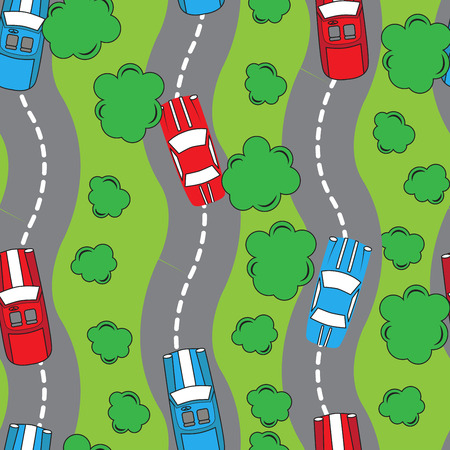 undirected: Seamless patter with racing cars. Can be used for textile, kids clothes, wallpaper, wrapping paper, etc. Vector illustration