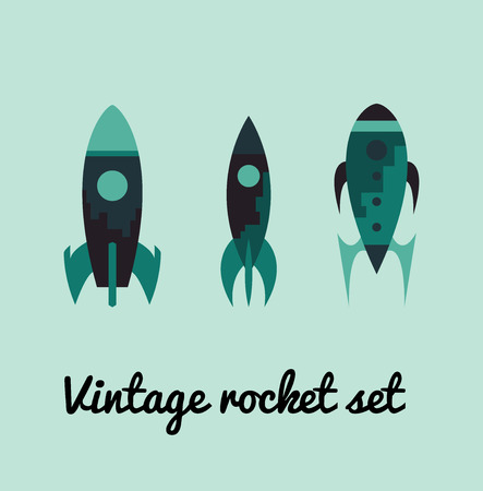 odyssey: Vintage rocket space set. Vector illustration Illustration