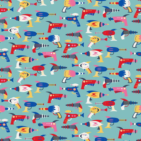 Seamless pattern with vintage space weapons. Vector illustration