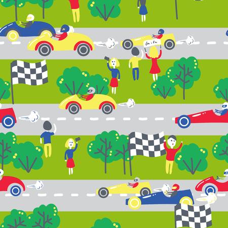 schlagbaum: Nahtlose Muster mit Rennwagen. Kann f�r die Textil-, Kinder Kleidung, Tapeten, Geschenkpapier usw. Vektor-Illustration verwendet werden