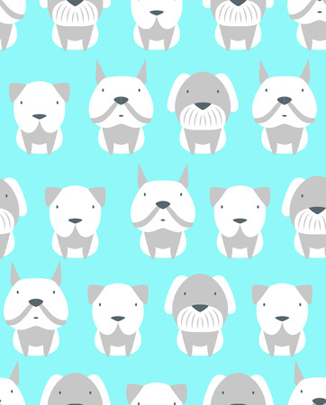 cute dogs: Seamless pattern with cute different kinds of dogs. Vector illustration Illustration