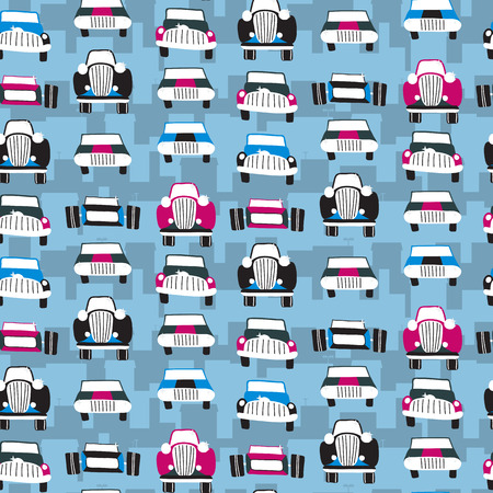Seamless patter with cars. Can be used for textile, kids clothes, wallpaper, wrapping paper, etc. Vector illustration