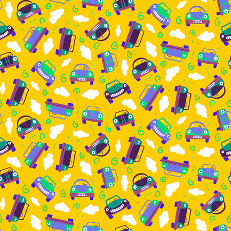 undirected: Seamless patter with cars. Can be used for textile, kids clothes, wallpaper, wrapping paper, etc. Vector illustration