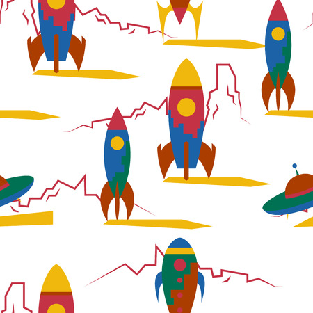 odyssey: Seamless pattern with vintage rockets in space. Vector illustration