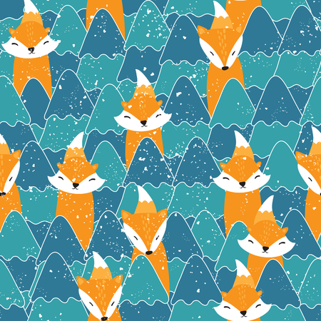Seamless pattern with different cute foxes. Vector illustration Illustration