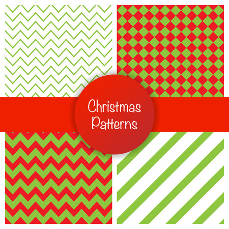 conviviality: Set of different christmas simple seamless patterns. Vector illustration