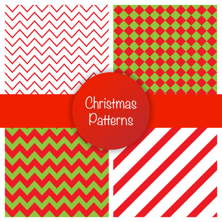 Set of different christmas simple seamless patterns. Vector illustration