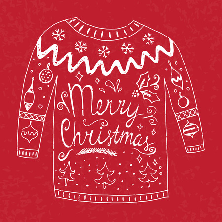 Sweater with text merry christmas and different christmas ornaments. Vetocr illustration Illustration