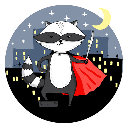super dog: Superhero raccoon in a night city. Vector illustration