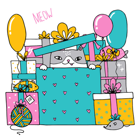 mouser: Card with a birthday cat with presents sitting inside a box. Vcetor illustration Illustration