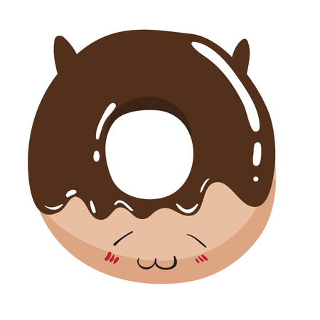 Chocolate donut with cat ears and funny face. illustration