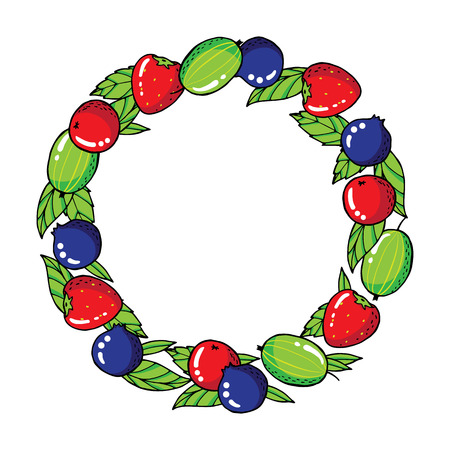 Wreath with strawberries, gooseberries, blackberries and leafs. Vector illustration Illustration