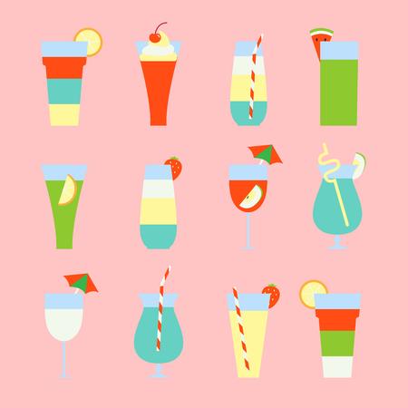 Set of summer refreshing drinks and cocktails. Vector illustration