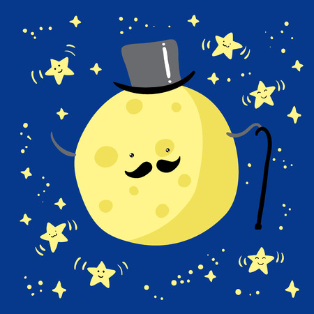 Moon with mustache and dancing stars. Vector illustration