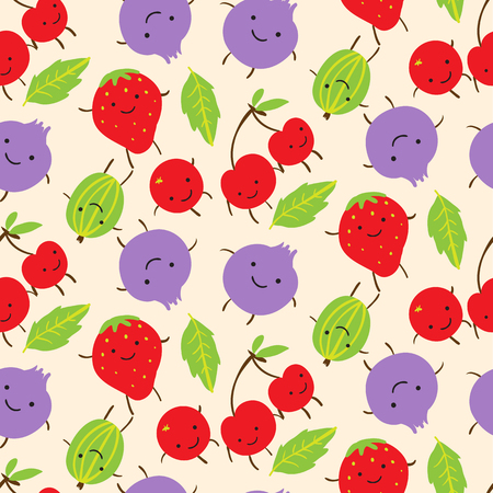 Summer seamless pattern with cute smiling  gooseberries, strawberries and blackberries. Vector illustration