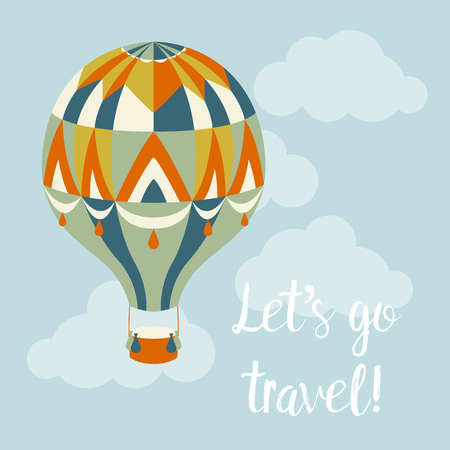 Balloon in the sky and text Lets travel. Vector illustration Ilustracja