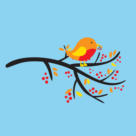 Bird on a branch with berries and leafs. Vector illustration