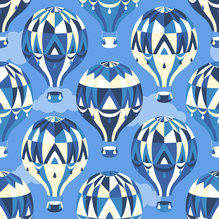 Seamless pattern with balloons in the sky with clouds. Vector illustration