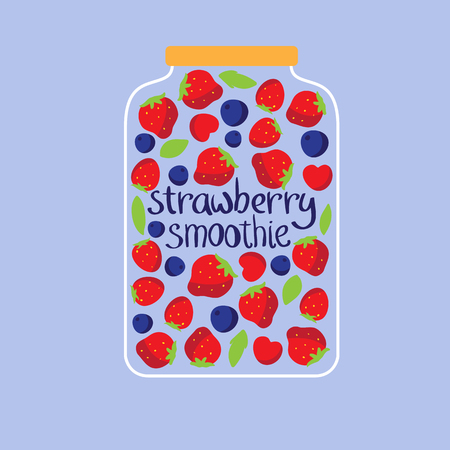 Jar with berries and smoothie. Vector illustration