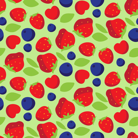 Seamless pattern with strawberries, blackberries and cherries. Vector illustration