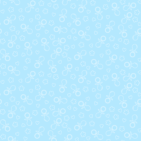 Seamless pattern with nipples, hearts and flowers. Vector illustration