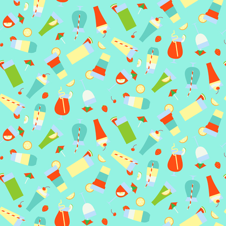 Seamless pattern with different summer refreshing drinks and cocktails. Vector illustration