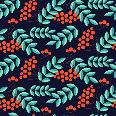 Seamless pattern with rowans and leafs. Vector illustration
